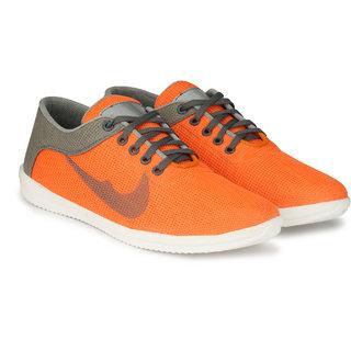 Layasa Mens Orange Lace-up Smart Casual Shoes