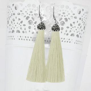 JewelMaze Marcasite Stone Rhodium Plated White Thread Tassel Earrings-1310932A