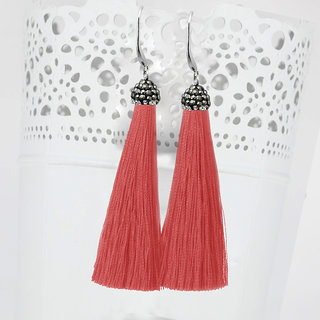 JewelMaze Rhodium Plated Marcasite Stone And Red Thread Tassel Earrings-1310932B