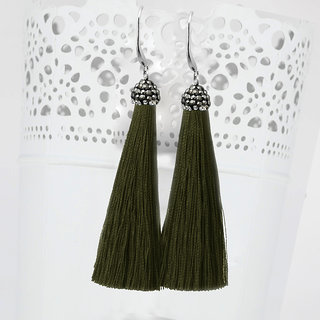 JewelMaze Marcasite Stone And Green Thread Tassel Earrings-1310932C