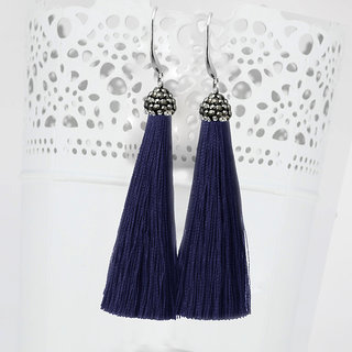 JewelMaze Rhodium Plated Marcasite Stone And Blue Thread Tassel Earrings-1310932E