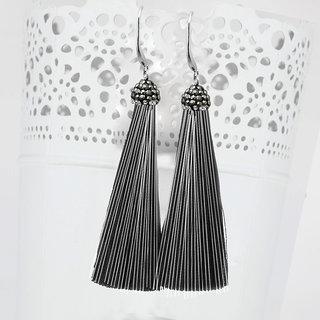 JewelMaze Rhodium Plated Marcasite Stone And Black Thread Tassel Earrings-1310932G