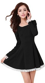 Klick2Style Black Solid Round Neck Full Sleeve Crepe Mini Dress