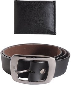 Elligator Stylish Black Belt With Black Wallet Combo For Men