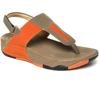 Paragon Women'S Orange-Grey Solid Sandal Slipper