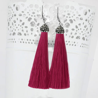 JewelMaze Marcasite Stone And Maroon Thread Tassel Earrings-1310932I