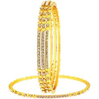 The jewelbox 22K gold plated eternity star american diamond CZ bangle set of 4