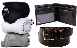 Combo of Socks  Wallet And Belt