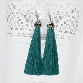 JewelMaze Marcasite Stone And Green Thread Tassel Earrings-1310932M