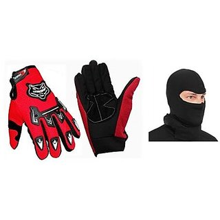 Combo Knighthood Red Gloves Full +Facemask Balacalva for Winter