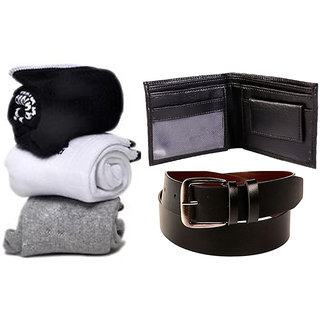 Combo of Socks  Wallet And Belt (Synthetic leather/Rexine)