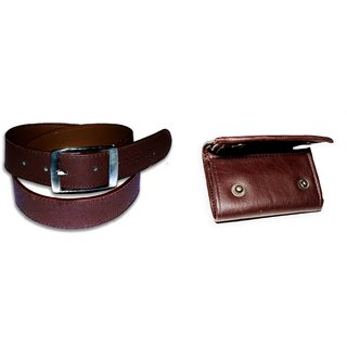Classic Combo Of Brown Leather Belt and Wallet