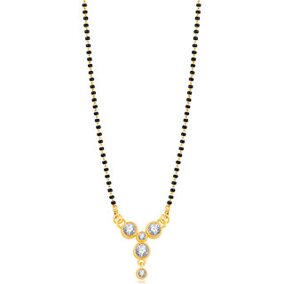 JewelMaze American Diamond Gold Plated Mangalsutra -1500631