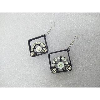 Black and Silver stone drop earrings casual wear