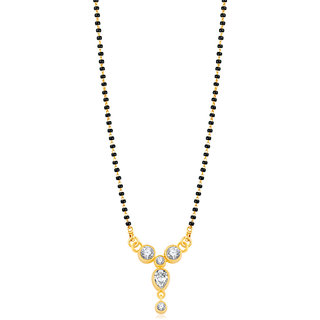 JewelMaze American Diamond Gold Plated Mangalsutra -1500632