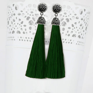 JewelMaze Marcasite Stone And Green Thread Rhodium Plated Tassel Earrings-1310933B
