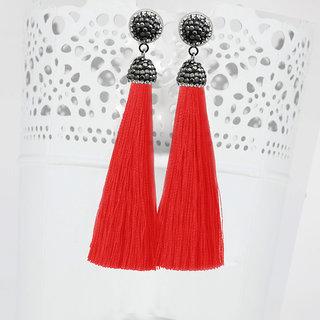 JewelMaze Marcasite Stone And Orange Thread Rhodium Plated Tassel Earrings-1310933C