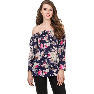 Amiable Casual 3/4 Sleeve Printed women Blue Top
