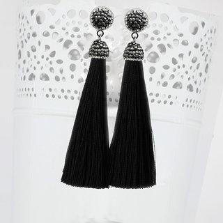 JewelMaze Rhodium Plated Marcasite Stone And Black Thread  Tassel Earrings-1310933D