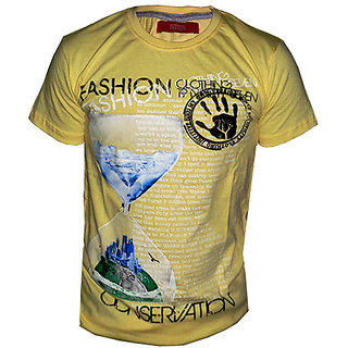 OurLook Men`s Fashion Printed T-Shirt - Yellow