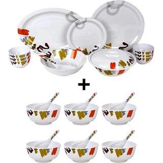 Shalom Luxury Pack of 28 Dinner Set (Melamine) + Free Soup Bowl Set