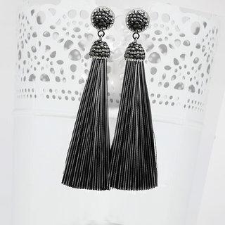 JewelMaze Marcasite Stone And Black Thread Rhodium Plated Tassel Earrings-1310933F