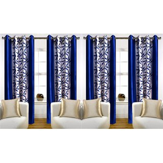 R Trendz Printed Window Curtain Set Of 4(4x5)
