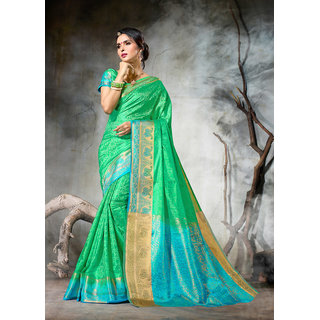 Aradhya Fashion Women's Jacquard Silk Lime Green Embellished Saree