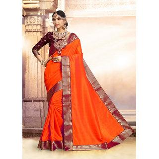 Aradhya Fashion Designer Jacquard Kanjeevaram Cotton Silk Orange Embellished Saree