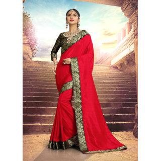 Aradhya Fashion Designer Jacquard Kanjeevaram Cotton Silk Red Embellished Saree