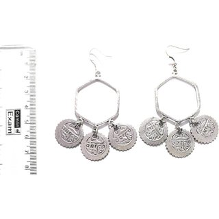 Athizay Oxidised Silver Tribal Earring Set Hexagon Shape With Metal Coin Embellishments Dangle