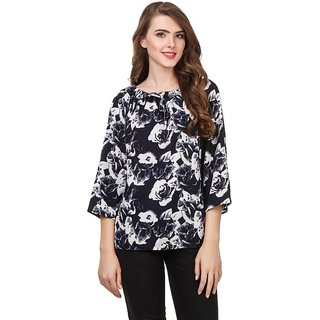 Amiable Casual 3/4 Sleeve Printed Women Blue 2 Top