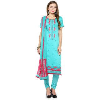 Kvsfab Turquoise Blue & Pink Colour Un Stitched Dress Material