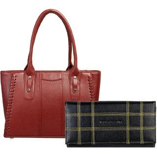 Louise Belgium Women's and Girl's Fashionable & Durable Spacious Multi Compartments Designer Handbag & Clutch Combo
