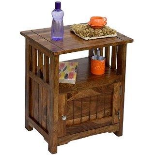BM WOOD FURNITURE Sheesham Wood 1 Door Cabinet Natural Teak Finish Side End Corner Table