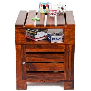 BM WOOD FURNITURE Planko Solid Wood Side Table (Teak Finish)