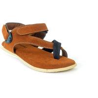 Shoegaro Men's Tan Casual Velcro Sandals