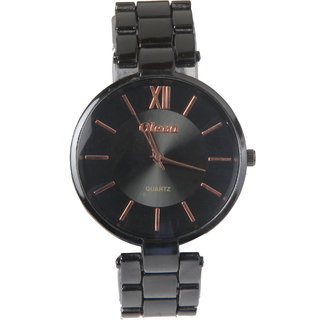 Oleva Analog Quartz Black Dail Round Metal Watch for Women's - OPMW8