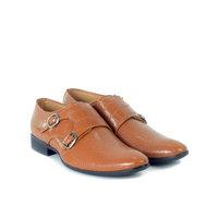 Shoegaro Men'S Tan Monk Strap Formal Shoes