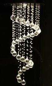 Modern Ceiling Light Glass Beads Crystal Pendant Chandelier Spiral