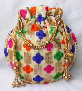 Designer Silk Embroidered Potli Bag Pearl Handle Purse Womens Handbag