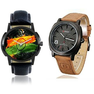 KDS CURREN And INDIAN FLAG Quartz Chronograph Black Round Dial Mens Watch