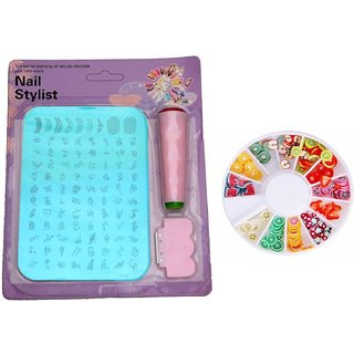 Royalkart NAil Art Stamping Kit Image Plate ( XY 10) with Nail Art Decorations Fruit Slices 3D Polymer Clay Tiny Fimo Wh