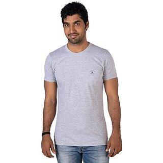 Mens Round Neck Light Gray Melange SS T-shirt