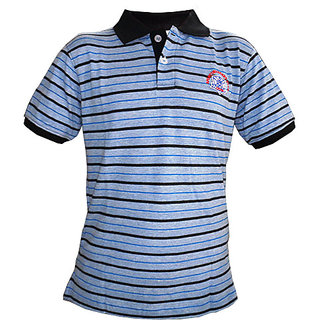 OurLook Men`s Striped Polo T-Shirt - Blue