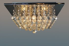 Modern Fixture Ceiling Lighting Glass Crystal Pendant Electric Chandelier square