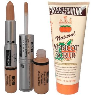 ADS Foundation  Concealer Double Action with Scrub