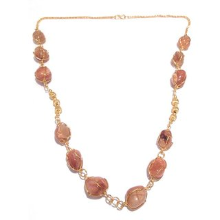 athizay semi precious stone jewellery beach necklace . Long Brass chain with gold finish.