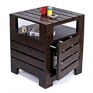 BM WOOD FURNITURE Planko Solid Wood Side Table (Dark Walnut Finish)