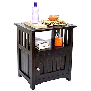 BM FURNITURE Sheesham Wood 1 Door Cabinet Dark Walnut Finish Side End Corner Table